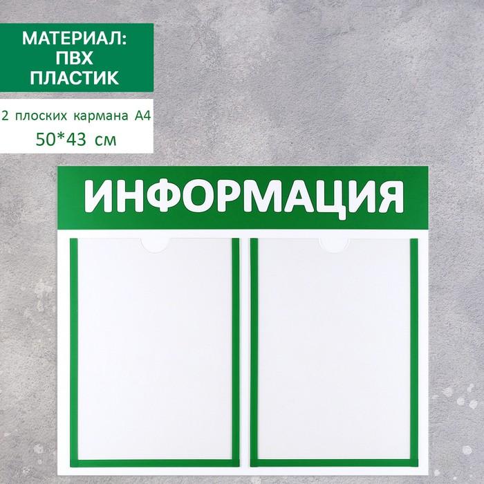 Доска для информации, пластик, 2 кармана, цвет МИКС