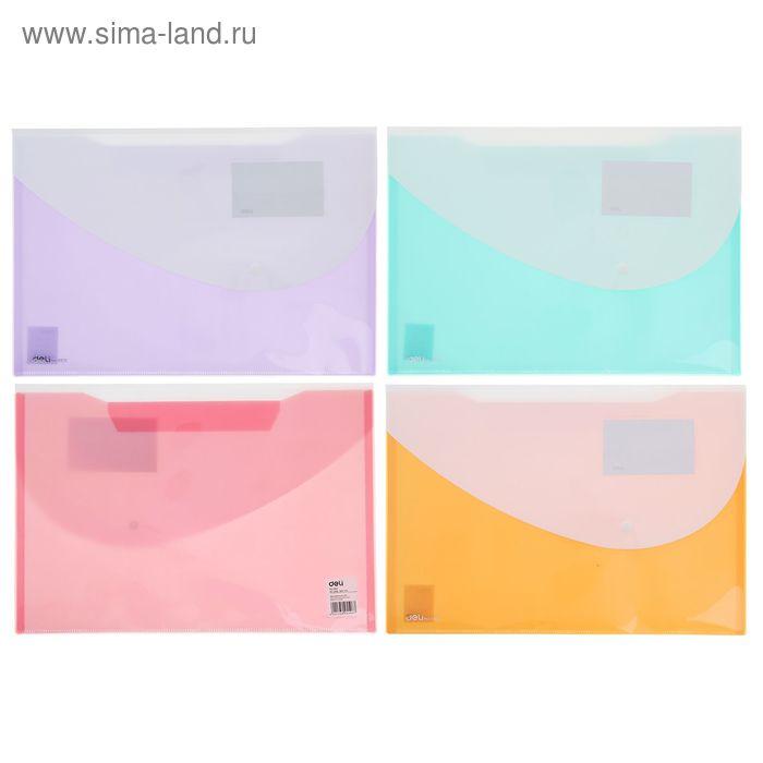 Папка-конверт на кнопке формат А4+ 180мкр МИКС DELI Двухцветная (243*356мм)