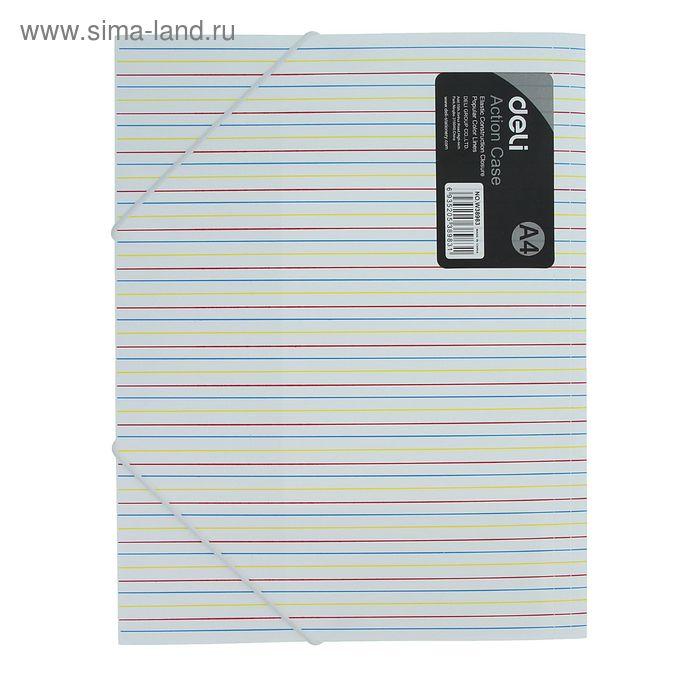 Папка на резинке формат А4 450мкр Полоска МИКС DELI