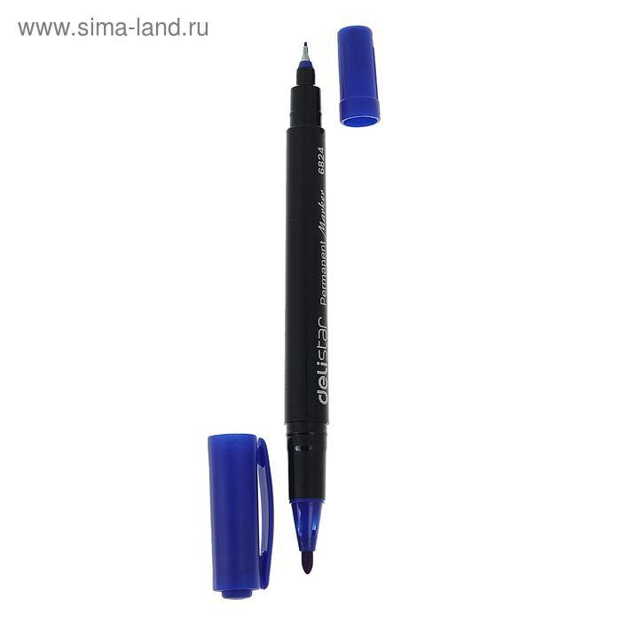 Маркер перманентный двухсторонний круглый (1 мм/0,5 мм) синий DELI