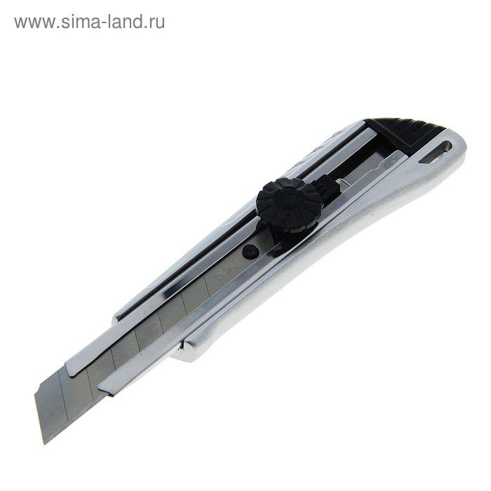Нож канцелярский лезвие-18мм с металл направляющей фиксатор МИКС DELI