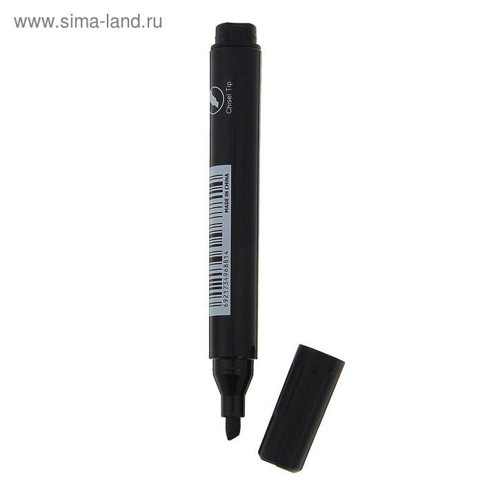 Маркер перманентный скошенный 4 мм 6881 чёрный DELI