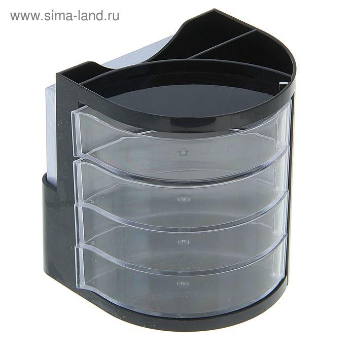 Подставка для пишущих принадлежностей черно/прозрачный пластик с выдвиж отд DELI