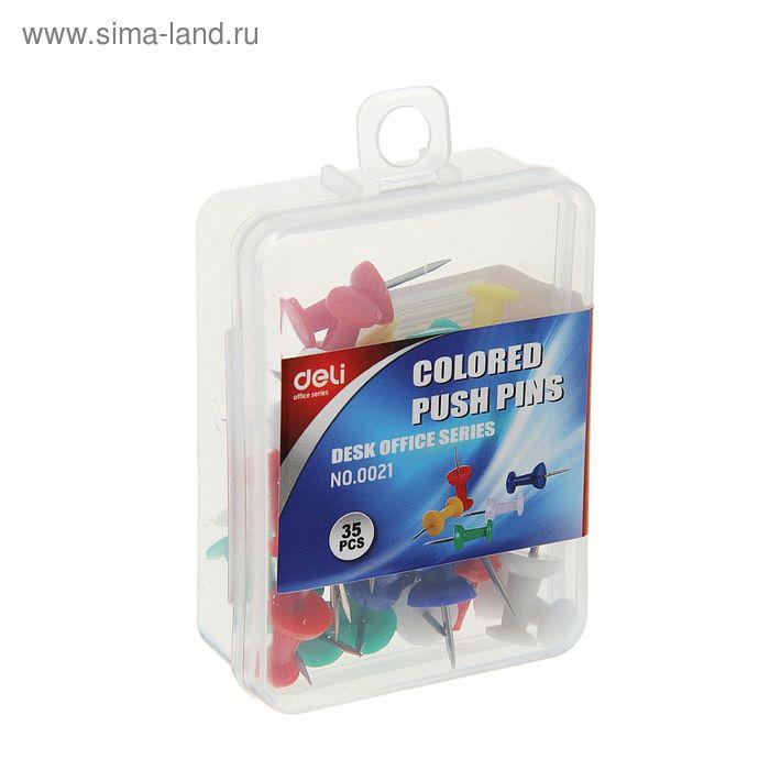 Кнопки силовые цветные 35шт в пластиковой коробке DELI