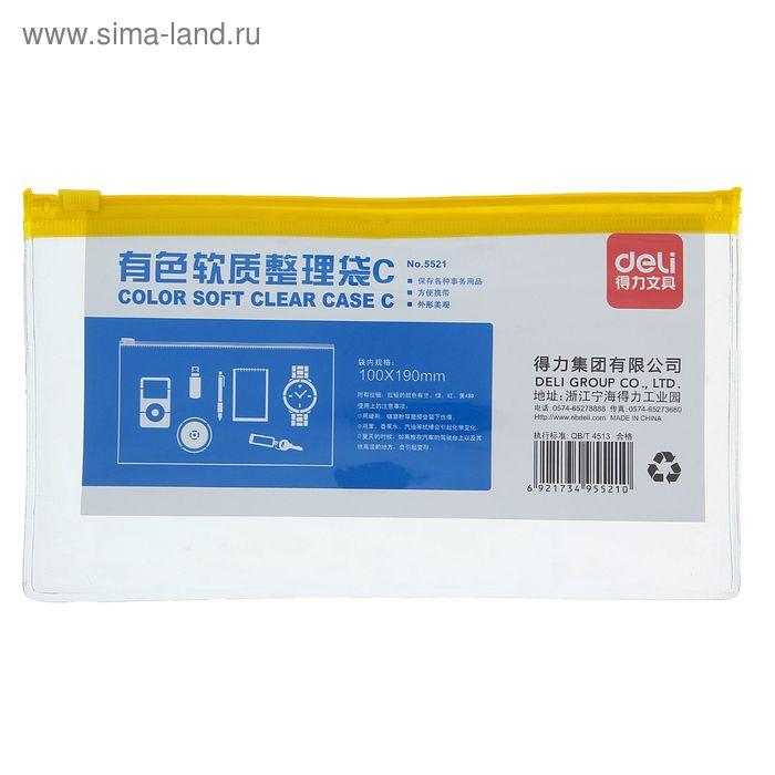 Папка-конверт на молнии формат А65 280мкр прозрачная молния МИКС DELI