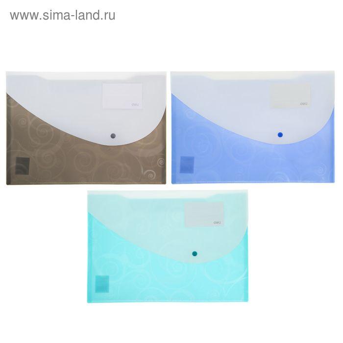Папка-конверт на кнопке формат А4+ 170мкр МИКС DELI Двухцветная Узор (243*356мм)