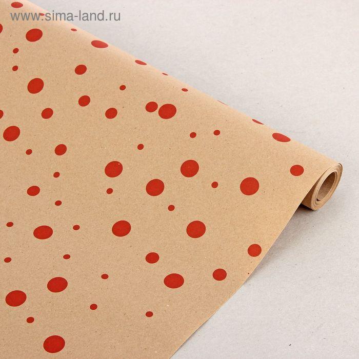 """Бумага упаковочная крафт """"Горошина"""" красный, 0.7 x 10 м"""