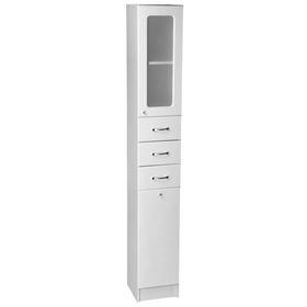 Шкаф-пенал 'Гиацинт 30 DB3 Glass СВ', с корзиной для белья, белый Ош