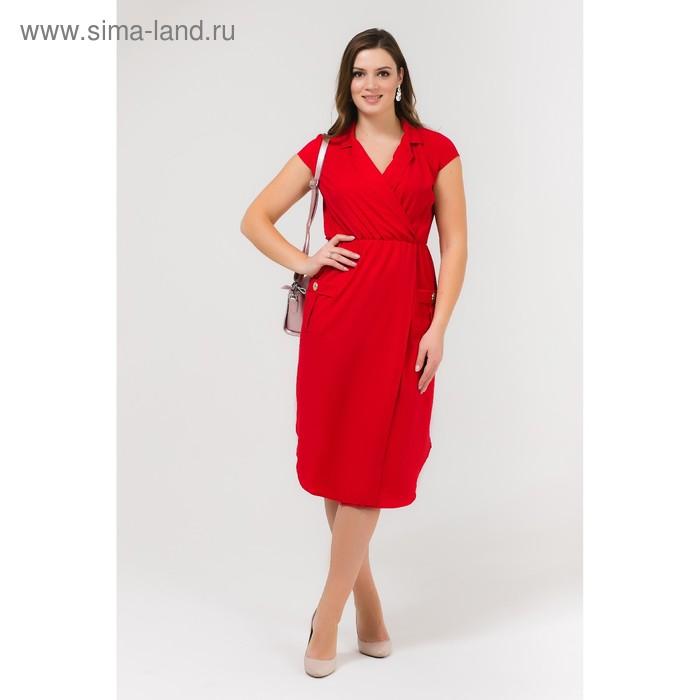 Платье женское, размер 52, рост 168, цвет красный (арт. 17251 С+)