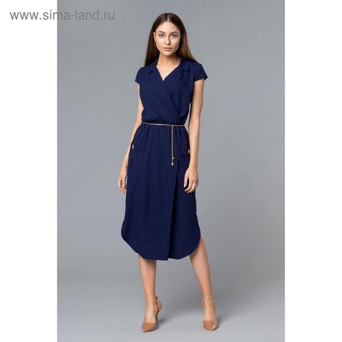 Платье женское, размер 54, рост 168, цвет темно-синий (арт. 17251 С+)