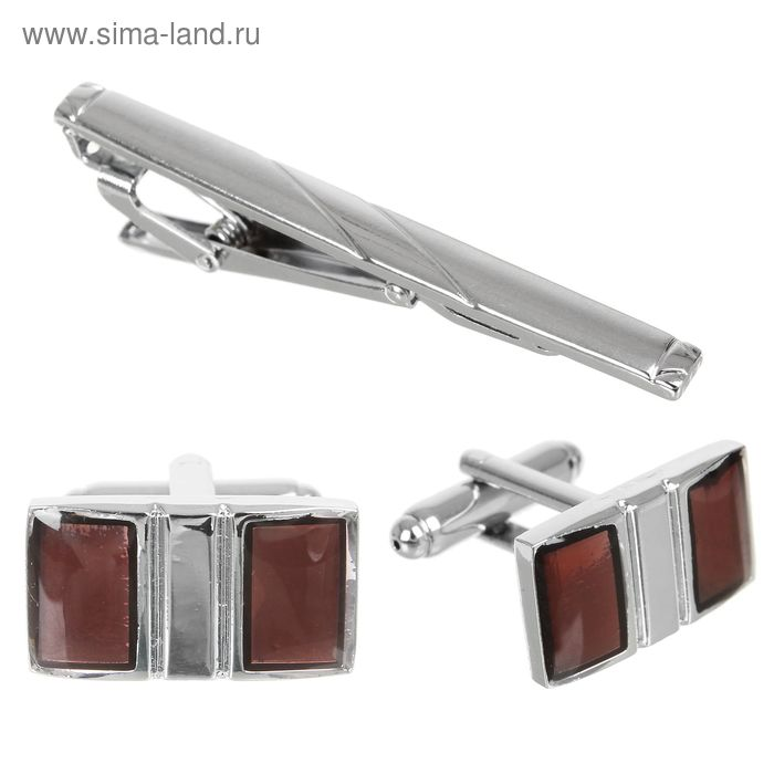"""Набор мужской """"Запонки + Зажим для галстука"""", прямоугольник, цветкоричнево-серебристый"""