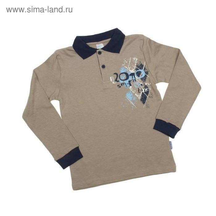 Рубашка-поло с длинным рукавом для мальчиков, рост 146 см (76), цвет бежевый CAJ 6087