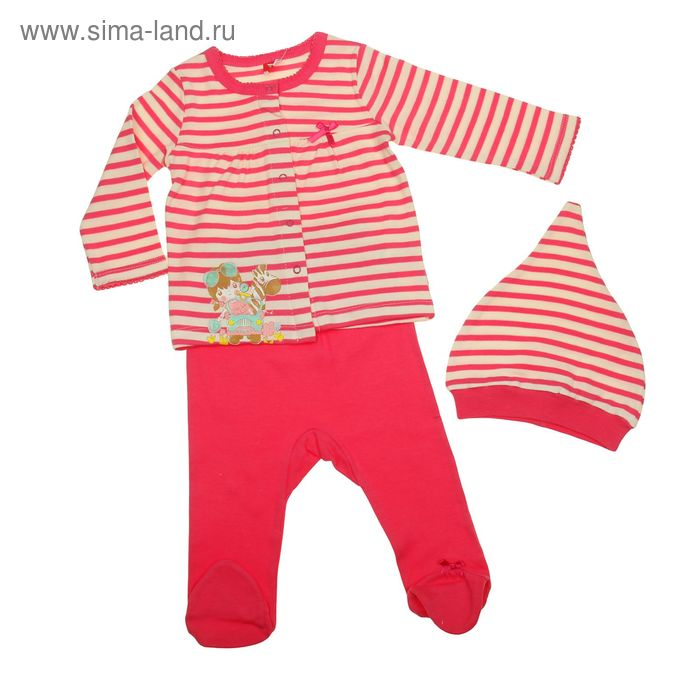Комплект ясельный (кофточка, ползунки, шапочка), рост 74 см, цвет розовый (арт. CAB 9458)