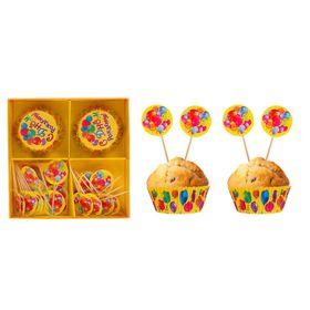 """Украшения для кексов """"С Днём рождения"""", шарики, набор: формочки 24 шт., шпажки 24 шт."""