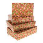 """Набор коробок 4в1 """"Тюльпаны на золотом"""" 30 х 20 х 8 - 24 х 14 х 5 см"""
