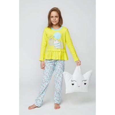 Комплект домашний для девочки (футболка и брюки), рост 116 см (60), цвет жёлтый