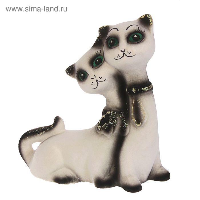 "Копилка ""Котята в галстуках"" флок, белая"