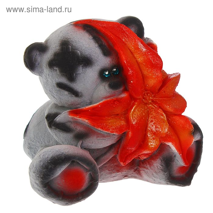 """Копилка """"Медведь с цветком"""" флок, серая, микс"""
