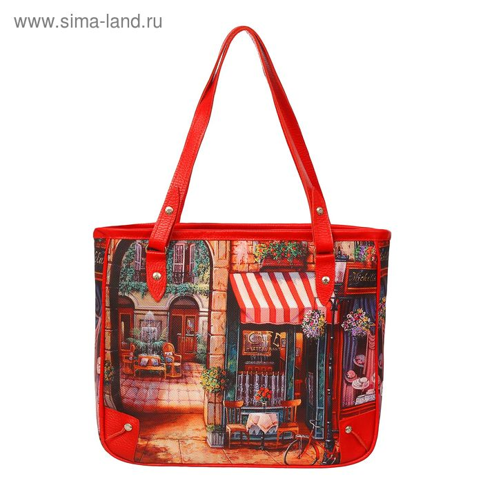 """Сумка женская на молнии """"Городской пейзаж"""", 1 отдел, 1 наружный карман, длинный ремень, красная"""