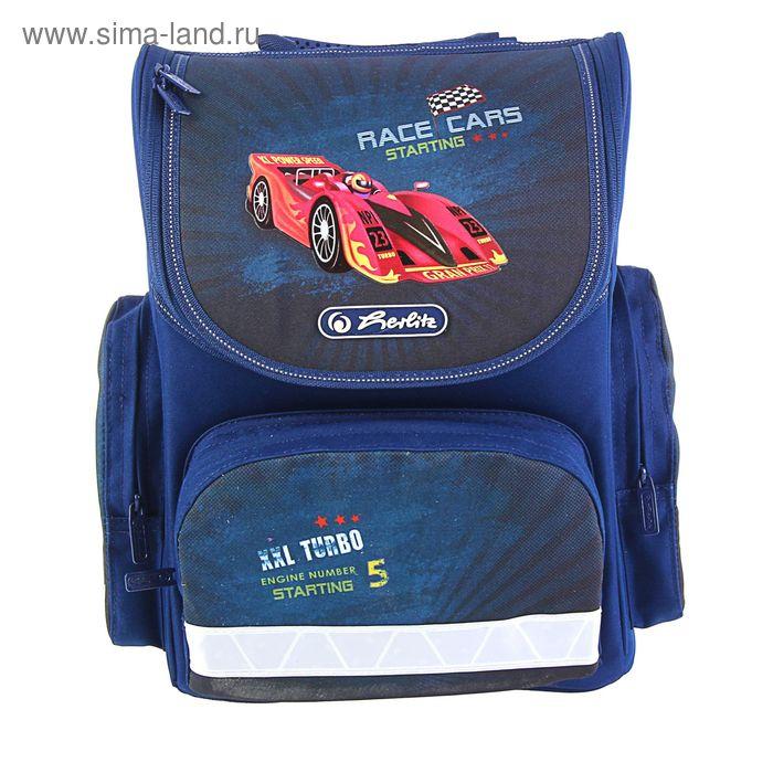 Ранец Стандарт Herlitz MINI 34.5*32*19, для мальчика, Race cars, синий