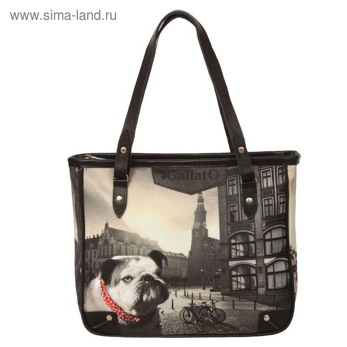 """Сумка женская на молнии """"Собака"""", 1 отдел, 1 наружный карман, длинный ремень, чёрная"""