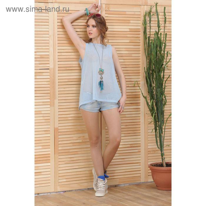 Блуза 4809, размер 44, рост 164 см, цвет голубой