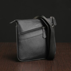 Сумка мужская на молнии, 1 отдел, 2 наружных кармана, длинный ремень, чёрная Ош