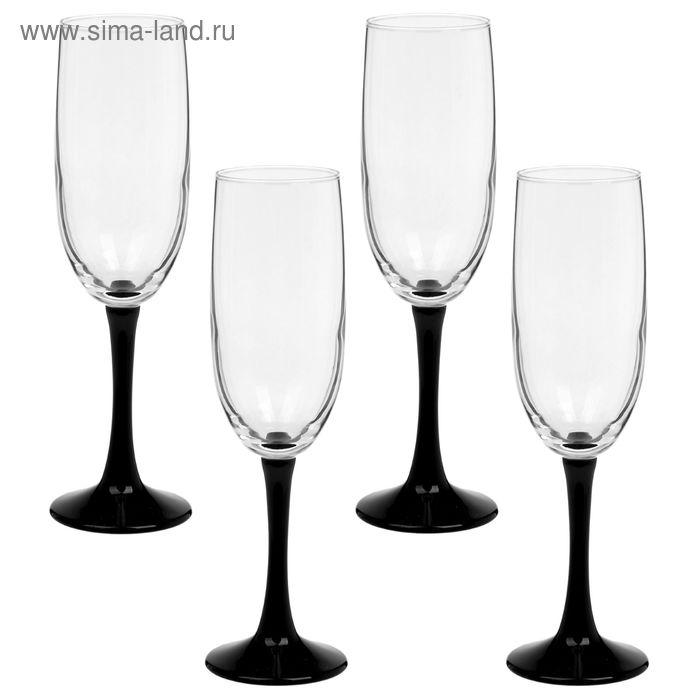 Набор бокалов для шампанского 155 мл Black, на черной ножке, 4 шт
