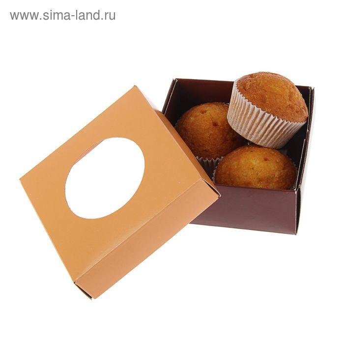 Коробка для сладостей 10 х 10 х 4,5 см, коралловый/шоколад