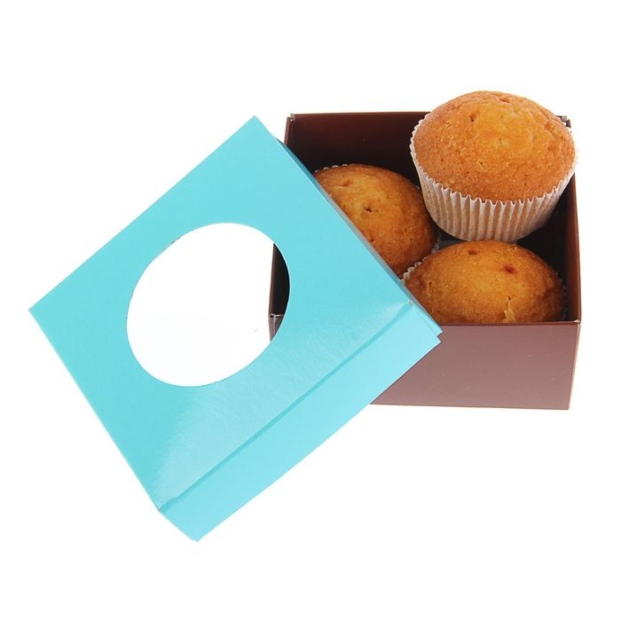 Коробка для сладостей 10 х 10 х 4,5 см, мятный/шоколад