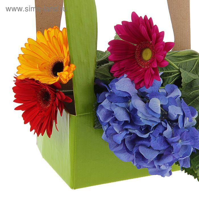Корзинка для цветов 25,5 х 15 х 40 см, салатовая