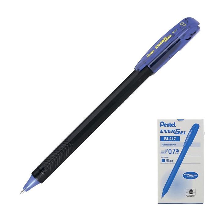 Ручка гелевая Pentel Energel 417, черный корпус, быстросохнующие чернила, 0.7мм, синий (LR7)