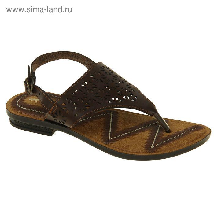 Туфли летние женские открытые, цвет коричневый, размер 38 (арт. 143005-8 EW)