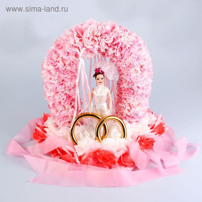 Невеста под аркой на крышу на треугольнике розовый-белый 35х55х50 см