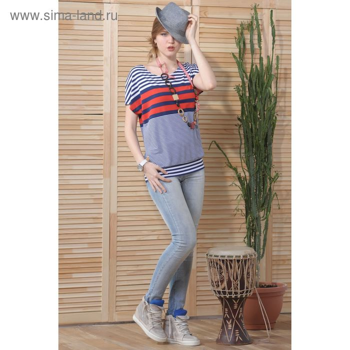 Блуза 4733, размер 48, рост 164 см, цвет  т.синий/белый/красный
