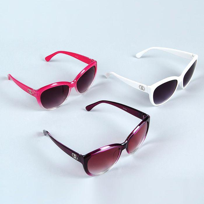 Очки солнцезащитные овальные, дужки вставки 2 овала хром, линзы градиент, оправа микс