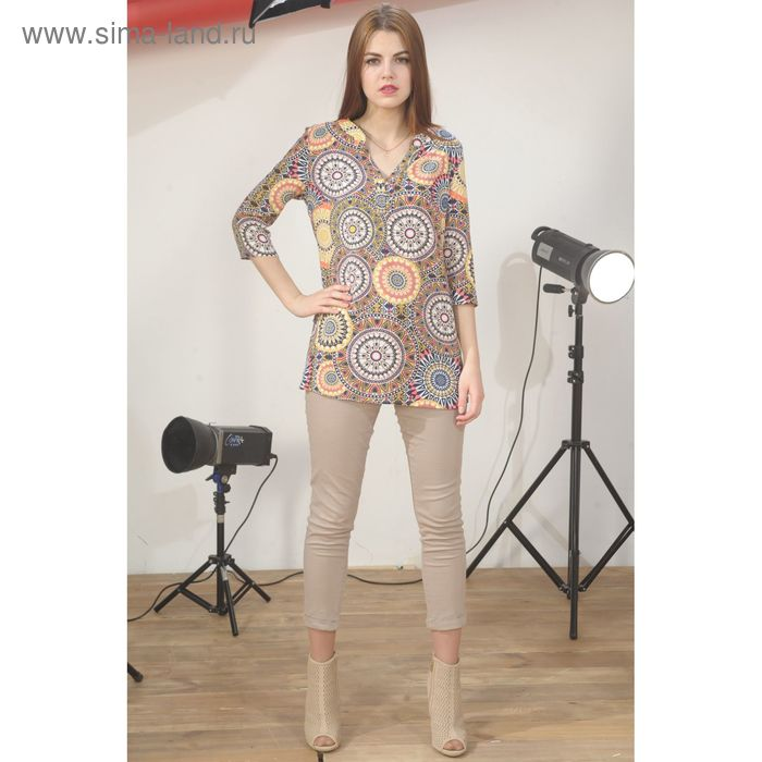 Блуза 4934, размер 46, рост 164 см, цвет беж/синий/коралл
