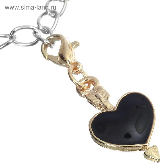 """Шармик """"Сердечко"""", цвет черный в золоте"""