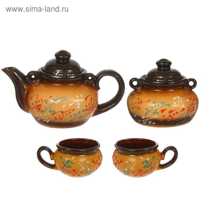 """Чайный набор """"Пестровка"""" 4 предмета, 1 л/ 1 л/ 0,35 л"""