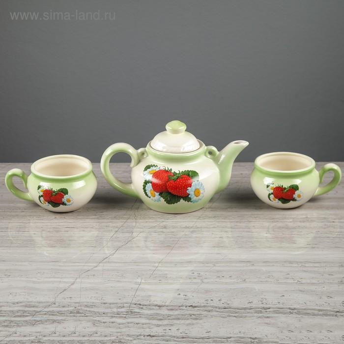 """Чайный набор """"Барыня"""" зелёный, 3 предмета, 1 л/ 0,35 л"""