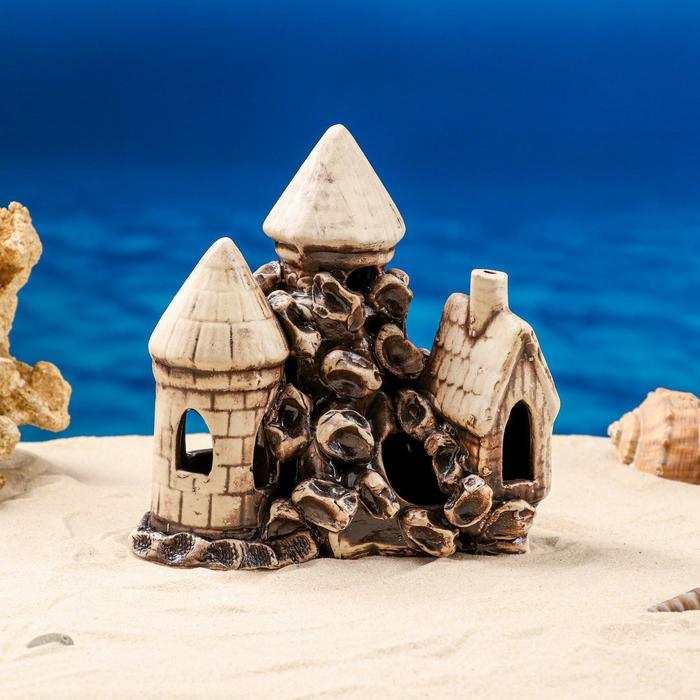 """Декорации для аквариума """"Две башни и дом"""""""