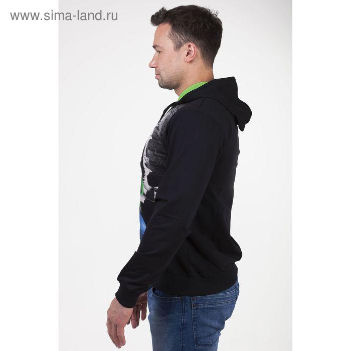 Толстовка мужская с капюшоном арт.0178, цвет чёрный, р-р 3XL