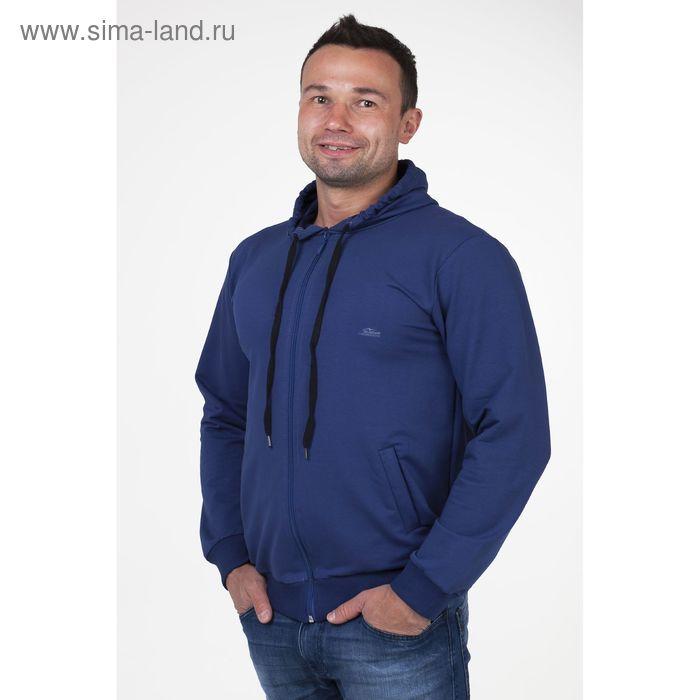 Толстовка мужская на молнии с капюшоном арт.0180, цвет джинс, р-р 3XL