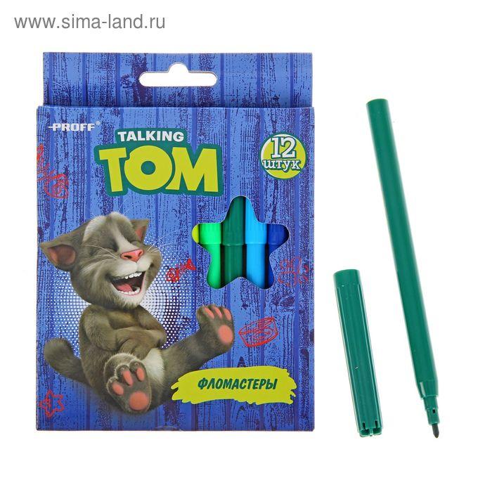 Фломастеры 12цв Говорящий Том, вентилир/колпачок, карт/короб TT16-TVC12