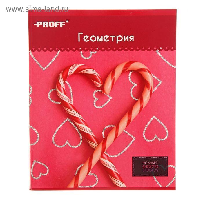 """Тетрадь предметная Hearts 48 листов клетка """"Геометрия"""", картонная обложка, двойной лак"""