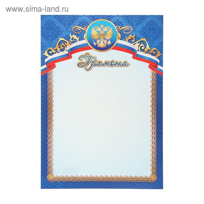 """Грамота """"Россия"""" герб, триколор и синяя рамка"""