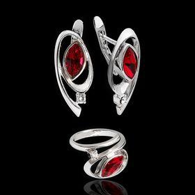 """Гарнитур 2 предмета: серьги, кольцо """"Ижма"""", размер 17, цвет красный в серебре"""