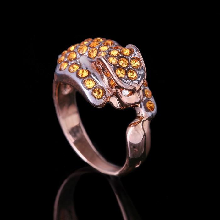 """Кольцо """"Леопард"""", размер 16, цветной в золоте"""