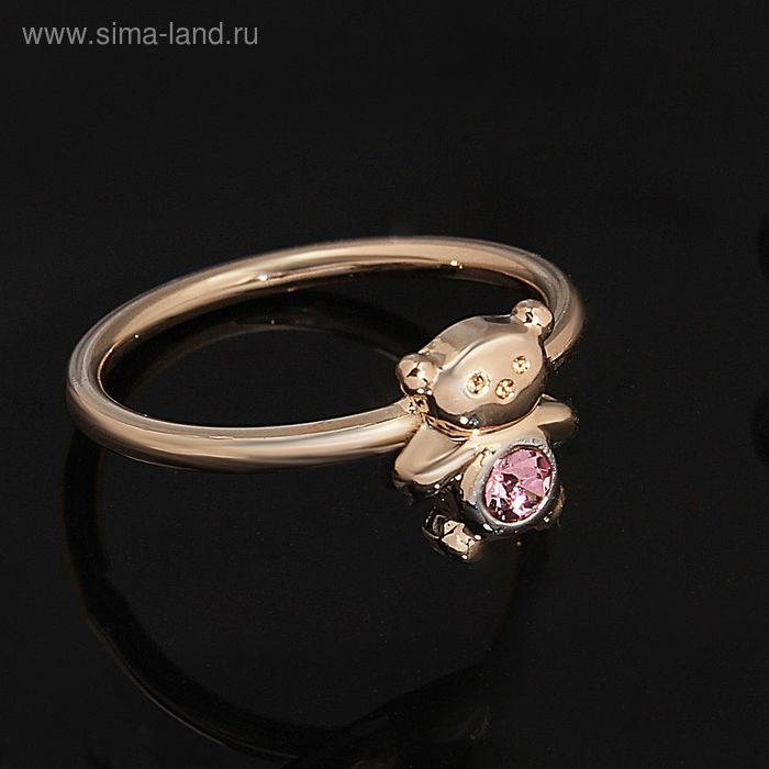 """Кольцо """"Панда"""", размер 16, цвет розовый в золоте"""