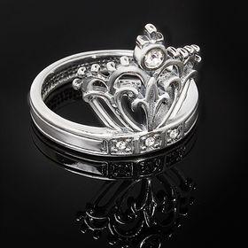 """Кольцо """"Люксембург"""", размер 18, цвет белый в серебре"""